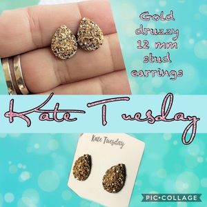 Gold gem stone KATE TUESDAY stud druzzy earrings